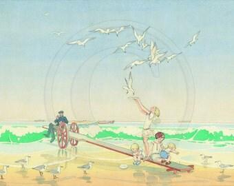 Seagulls, Beach, Seashore, Children, 1920s Print