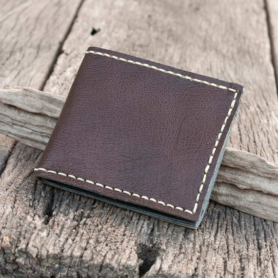 Men's Leather Wallet in Dark Brown, Hand Sewn