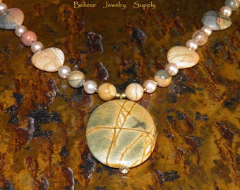 PICASSO JASPER Statement Necklace Genuine Gemstone Oval Pendant Necklace With Japser Hearts and Round Pearls & Heart Clasp Handmade Jewelry