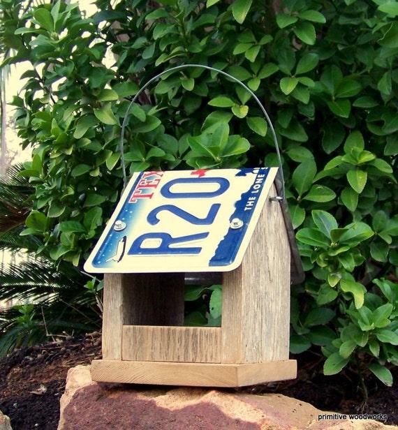 Bird Feeder Texas License Plate Roof Primitive Rustic