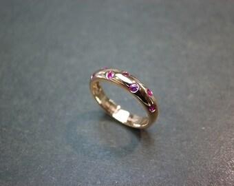 Ruby Wedding Ring in 14K Rose Gold, Ruby Engagement Ring, Ruby Jewelry, Ruby Band, Rose Gold Ring, Red Jewellery, Custom Design Gift Ring