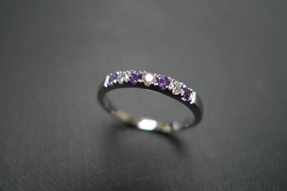 Amethyst Diamond Wedding Rings Engagement Ring Women Gift Jewelry Custom Made Purple Jewellery Thin Simple Classic Ring in 14K White Gold