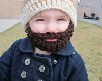 SALE!! Kids ULTIMATE Bearded Beanie Warm Brown 2-Stripe