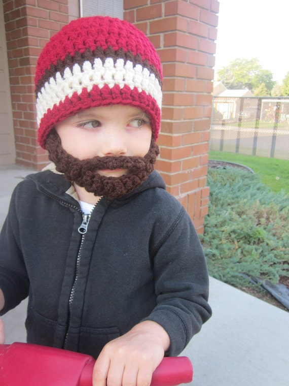 SALE!! Kids ULTIMATE Bearded Beanie Burgundy Mix