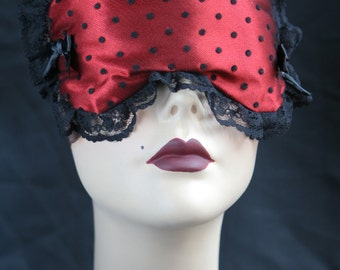 Babette red boudoir Sleep mask in satin and black spotted tulle  by Love Me Sugar