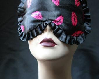 Satin Pink Lips Sleep mask Eyemask Retro Inspired Adjustable -  Kiss Me Sugar - Love Me Sugar