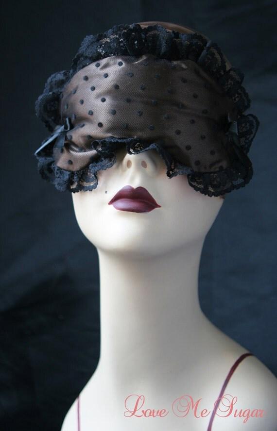 Satin Boudoir Sleep Mask in Chocolate  and Tulle spots - Bernadine - by Love Me Sugar