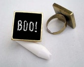 Halloween Chalkboard Blackboard Eco Chic Ring