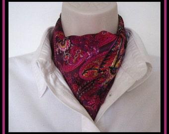 New Ascot Tie Cravat. wine red paisley. Elegant Formal wear or Classy Casual Wear