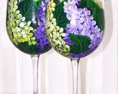 Lilacs purple yellow wine glass set