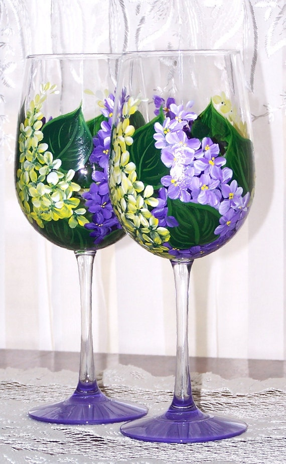 Lilacs purple yellow wine glass set