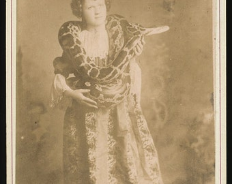 120 Year Old Antique Photo / Woman Holding a Python
