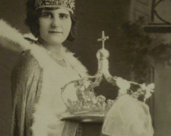 Antique Photo Girl with Crown of Rhinestones and Robe - Portugese Possibly