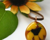 Rustic Sunflower Pendant, Fused Glass Flower Pendant, Yellow Flower Glass Pendant, Wearable Flower Art