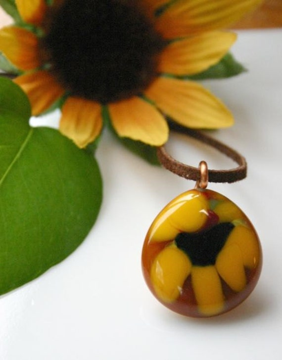 Rustic Sunflower Pendant, Fused Glass Flower Pendant, Yellow Flower Glass Pendant, Wearable Flower Art