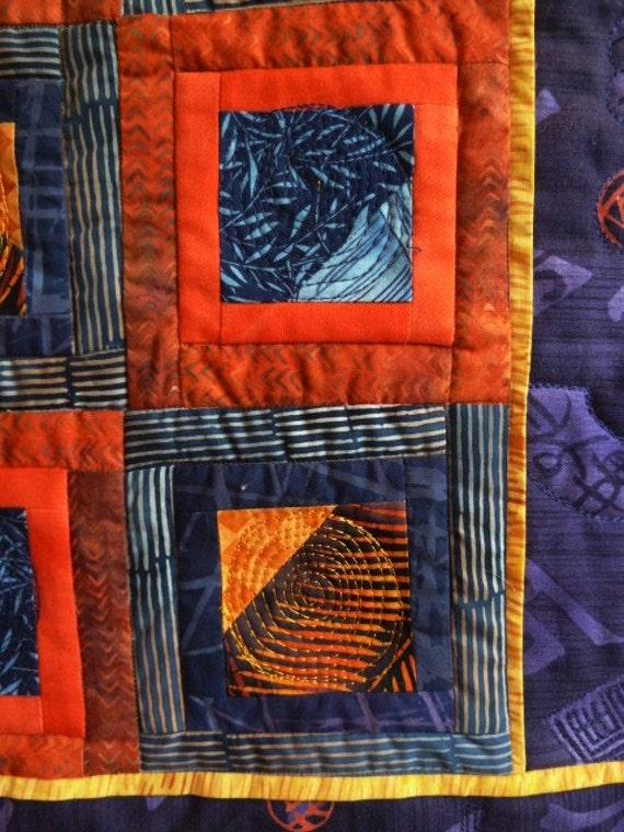 Fiber Art Small Quilt Wall Hanging  Purple Orange Blue Asian Inspired