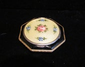 Vintage Guilloche Compact 1930s Enamel Powder Rouge Mirror Compact STUNNING