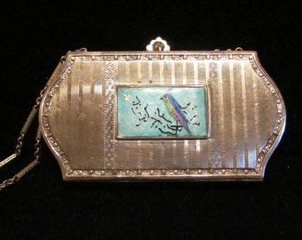 Vintage Compact Purse Guilloche Compact Guilloche Purse Silver Purse Makeup Dance Purse Vintage Purse Mirror Compact Bird Compact