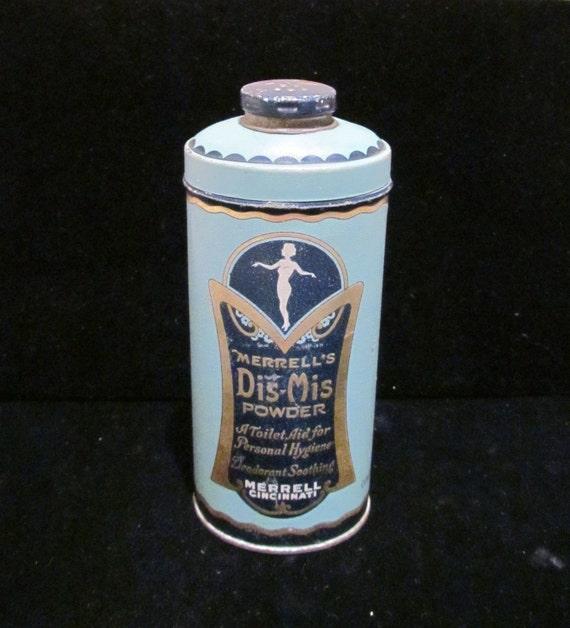 Vintage Powder Tin Art Nouveau 1920s Dis-Mis Talcum Powder Tin Full UNUSED EXTREMELY RARE