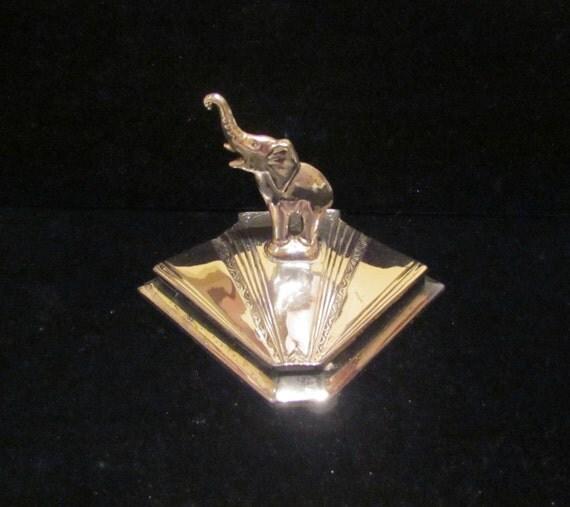 Vintage Powder Box Art Deco Powder Box 1930's Powder Jar Elephant Powder Box Weidlich Bros. Silverplated VERY RARE