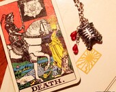 Tarot necklace - Death - skeleton rib cage jewelry, crystal red blood drops, zombie, victorian gothic vampire, wiccan gypsy steampunk skull
