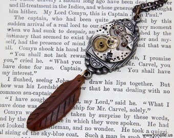 Steampunk Necklace - Gothic Gypsy - ooak Victorian Tribal jewelry, vintage clockwork, copper brass, rustic carved feather, boho shabby chic