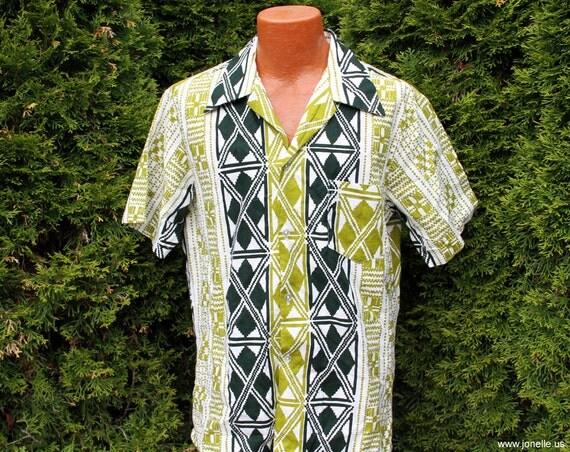 TRIBAL - vintage mens barkcloth tiki hawaiian shirt. L, XL, black, green, white. Sale on Pomare 60s Rockabilly, Mad Men, Tiki Oasis, Hukilau