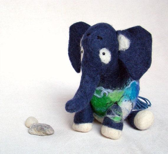 Babajide -  Blue Felt Elephant, Puppet, Art Marionette, Felted Animal, Stuffed Toy. MADE TO ORDER