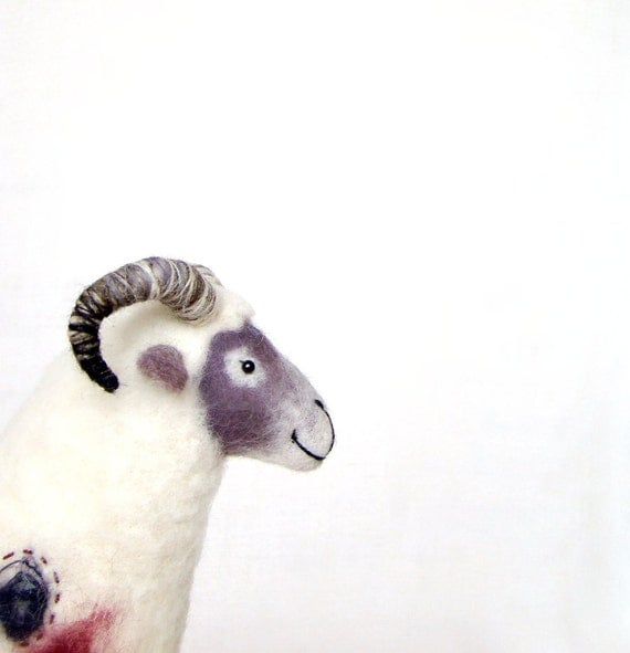 Nataniel - Felt Ram Art Marionette. Handmade Puppet Felted Stuffed  Waldorf Sheep, mteam. white purple maroon violet. Special order for Tish