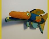 Funky Colorful FISH Art - Whimsical Painted Recycled Wood Ready to Hang Original Handmade Wall Decor