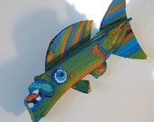 WHIMSICAL Fish Art - Colorful Painted Recycled Wood Ready to Hang Original Fish Decor  - Kids Room Art