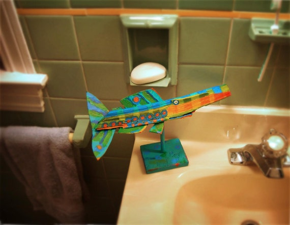 Table Top Fish Art - Handmade Whimsical Colorful Original Funky Wood Fish Creation - Table Top, Kitchen, Bath Counter Decor