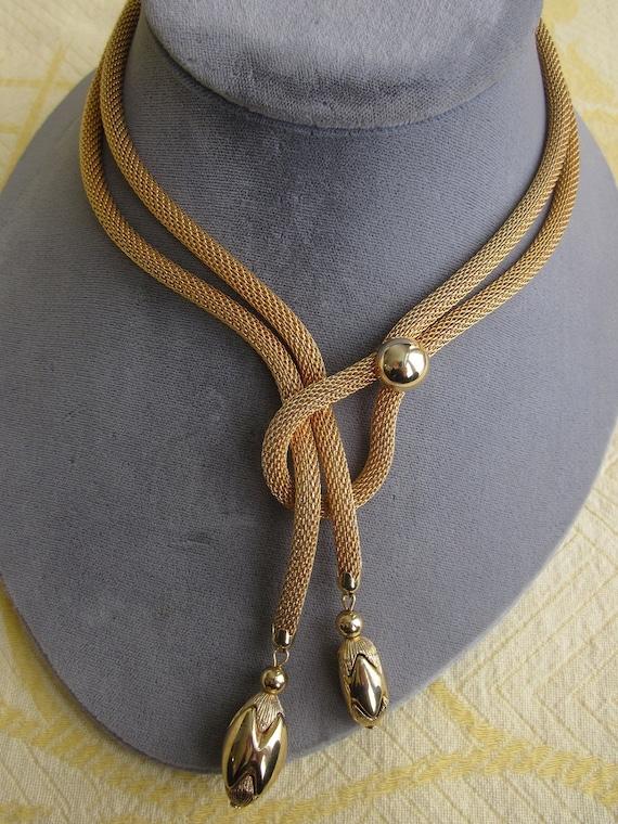 Vintage Gold Metal Mesh Serpentine Lariat Rope Necklace