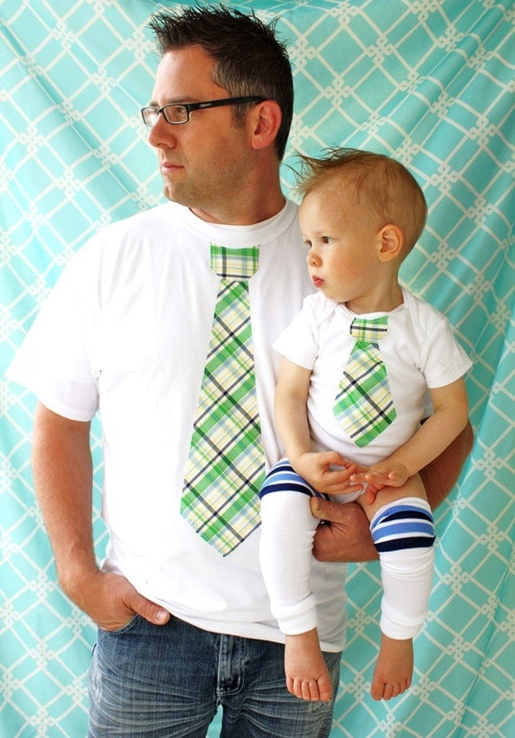 Father's Day Baby Boy Set of Tie Shirts for Daddy and Son. New Dad Baby Boy Birthday Outfit, Coming Home Outfit, St Patrick's Day Green Tie