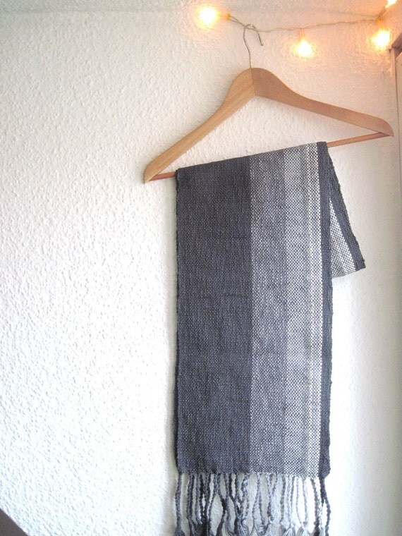 """Mens Grey Stripe Scarf, Handwoven Organic Cotton & Wool Fall Accessory - Gift for Him - """"Seattle"""""""