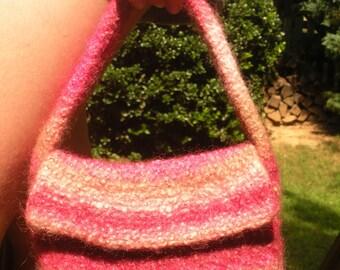 felted wool handbag, lined, gradient pink