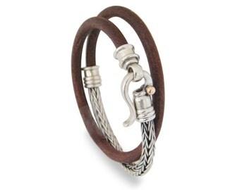MENS LEATHER bracelet, leather with  Braided Bracelet, brown leather, Silver Bracelet, twice on hand, cremerdani, israeli designer, handmade