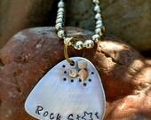 Custom Metal Stamped Guitar Pick Necklace