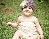 Purple Hat with Green and Linen Grey Flower - Winter Baby Beanie - Infant/Toddler/Children