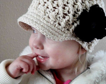 Baby Girl Hat, 6 to 12 Months Baby Girl Newsboy Cap, Crochet Visor Beanie, Cream with Black Flower. Baby Gift. Cute with any Outfit.