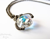 Wire Wrapped Aurora Borealis Swarovski Crystal Pendant Necklace- Magical Lantern Vol. 2