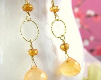 Peach chalcedony gold dangle earrings, Light peach drop earrings, Peachy earrings, Peach drop dangle gold earrings, Nature inspired peach