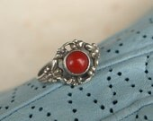 Traditional Style, Red 'Angelskin' Coral, Silver Ring, Vintage Original, around 1930s , Germany