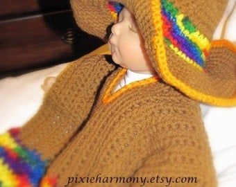 Baby Sombrero and Poncho - Newborn to 3 months - Photo Prop - brown multicolor - Mexico - South America - Indian