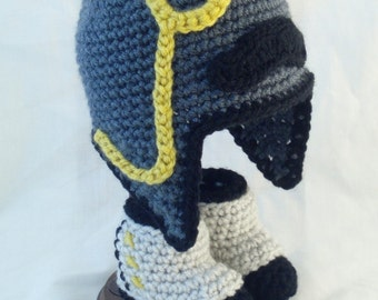 Gray Baby Hat with Earflaps, Moustache, Monocle and Matching Spats Booties