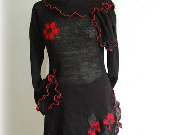Black Knitted With Red LINEN Application Eco Friendly Sweater Tunic