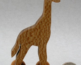 Giraffe Toy on Wheels, Wooden Block Animal for Kids, Organic Zoo Animals, Stocking Stuffers, Waldorf, Montessori Wooden Toy, African Animal