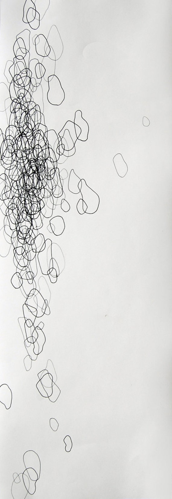 "Swim, tall 8"" x 24"" original abstract drawing"