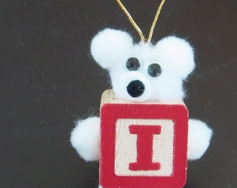Letter I Teddy Bear Block Ornament for Present Gift Tag