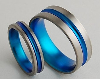 Wedding Bands , Titanium Rings , Promise Rings , Titanium Wedding Ring Set , Dionysus Bands in New Beginning Blue, Price Includes Both Bands